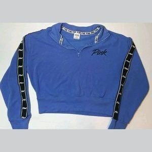 VS PINK Blue Crop Top Quarter Zip Size M
